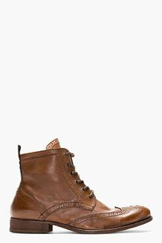 $265, Brown Leather Brogue Boots: Hudson H By Brown Leather Brogued Angus Ankle Boots. Sold by SSENSE. Click for more info: http://lookastic.com/men/shop_items/34900/redirect