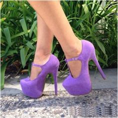 Purple Maryjane T Strap Platform Heels Faux Suede $29.99