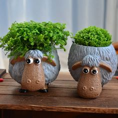 Ceramic planter pot flower pot lovely animal tabletop mini lovely sheep decorative is part of Ceramic flower pots - Ceramic Flower Pots, Ceramic Planters, Planter Pots, Planter Table, Pottery Animals, Ceramic Animals, Cement Crafts, Clay Crafts, Succulent Pots