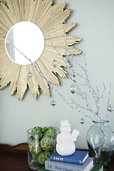 Sunburst mirror DIY (6 packs of shims, measures 36 inches across with a 12 inch mirror) @Haley Baur - this is like yours!!!!
