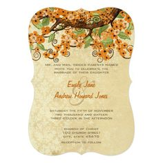 Country Chic Coral Cherry Blossom Wedding Invites