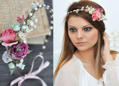 Haarschmuck & Kopfputz - Blumenkranz Hochzeit Haarband Blumen Haarschmuck - ein Designerstück von Princess_Mimi bei DaWanda