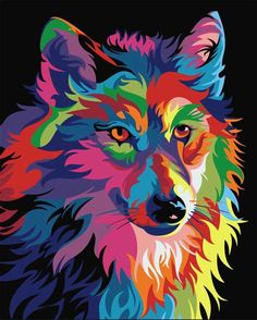 Buy Abstract Wolf - Animals Paint By Number kit or check our new modern collections for adults paint by numbers. Relax and enjoy your canvas painting Pop Art, Kit Pintura, Abstract Wolf, Oil Paint Set, Images D'art, Wolf Painting, The Joy Of Painting, Paint By Number Kits, Colorful Animals