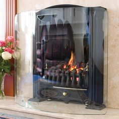 Curved Clear Glass Fire Guard Fireplace Screens, Log Burner, Safety Glass, Heating Systems, Clear Glass, Home Accessories, New Homes, Home And Garden, Home Appliances