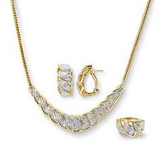 1/4 Cttw. Diamond Yellow Gold Over Brass Twist Pendant Necklace  Ring and Earrings