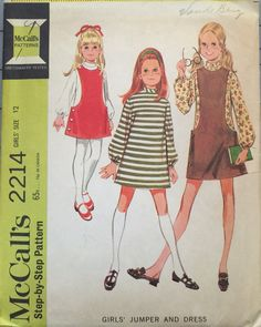 This is a vintage 1969 Simplicity 2214 girls jumper and dress sewing pattern. A-line dress with long set-in sleeves and jumper. Dress has front darts, center back zipper and sleeves gathered at wrists by elastic in casings. Bias, interfaced band collar is sewn to neck edge. Lined jumper has deep cut out sides and round neckline. Jumper front is lapped, buttoned and snapped closed over back at shoulders and sides.  Size 12  Breast 30  Waist 25 1/2  Hip 32  This pattern is UNCUT with FF and…