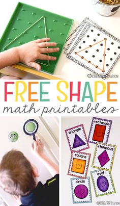 I've found the best way to teach your little learners math is by giving them the opportunities to experience math in different ways. We have the perfect resources for that here! Here are some great hands on math resources for your kindergarten and first grade classroom.  Free Shape Printables For Your Geometry Unit - Mrs. Jones' Creation Station #Math #FreePrintables