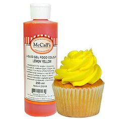This gel liquid Lemon Yellow food colour is a concentrated formula which gives a lemont, yellow colour. Gel Color, Colour, Yellow Foods, Gel Food Coloring, Whipped Topping, Lemon Yellow, Color, Whip Frosting, Colors
