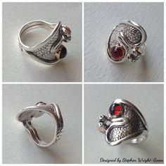 Sterling silver ring design with gold detail and garnet cabochon