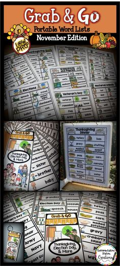 Portable Word Walls: November Edition. Explore concepts with thematic word lists. Use for writing, dramatic play, and science centers. Grab & Go word lists include: family, Thanksgiving, Pilgrims, Wampanoag, Elections, Veteran's Day, and Nocturnal Animals. $