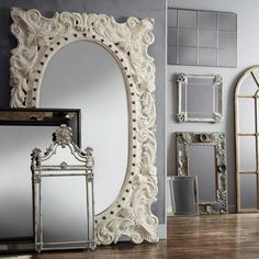 """MERLE 52"""" X 84"""" HAND CARVED MIRROR IN WHITE ($1,899) ❤ liked on Polyvore featuring home, home decor, mirrors, hand carved mirror, white mirror, white home decor and white home accessories"""