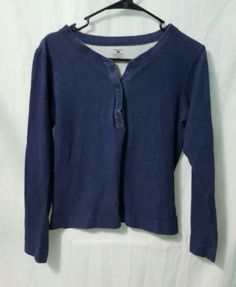 Patagonia-Womens-100-Organic-Cotton-Blue-Pullover-Shirt-Large-Long-Sleeve