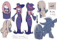 """artbooksnat: """" Little Witch Academia (リトル ウィッチ アカデミア) Full-color character designs for Little Witch Academia, illustrated by Yoh Yoshinari (吉成曜) were included in the March 2013 issue of Animestyle..."""