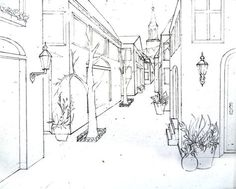 Single Point Perspective Drawing of a Street - Happy Family Art Single Point Perspective Drawing of a Street<br> Single Point Perspective Drawing of a Street: step by step instructions on how to draw a street with a single vanishing point.