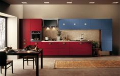 Cabinets To Go Review : Scavolini Red And Blue Warm Kitchen Design