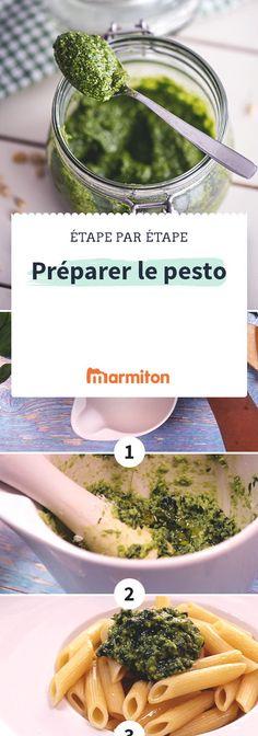 Préparer un délicieux pesto italien à base de basilic, de pignons et de parmesan, c'est facile, il vous suffit de suivre notre pas à pas recettes en images #marmiton #pasapas #recette #cuisine #pesto #sauce #italie #basilic #parmesan #genois