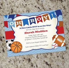 Oh Boy! Little All-Star MVP Sports-Themed Baby Shower Invitations - Print Your Own