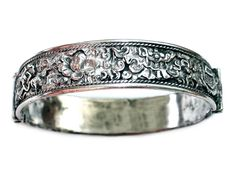 Antique Chinese Hinged Sterling Repoussé Bangle by LilTreasuresAntiques on Etsy
