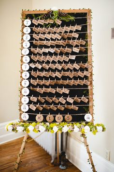 DIY Escort Card Display on Blackboard | Barrie Anne Photography | http://knot.ly/6494BahCI | http://knot.ly/6496BahC0