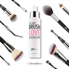Introducing...Brush Love! IT's your makeup-melting, skin-loving purifying instant brush cleaner! Using Brush Love's alcohol-free, quick-drying formula at least once a week will help your brushes last longer and allow your makeup to go on flawlessly. Plus, it contains peptides and collagen to benefit you (along with your brushes), and it smells amazing!  Discover IT: http://www.itcosmetics.com/brush-love