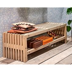Trallebænk med hylde Lille Outdoor Furniture, Outdoor Decor, Outdoor Storage, Bench, Balcony, Decorating, Home Decor, Decor, Decoration
