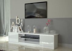 Mito. modern TV cabinet in white glossy finish with lights