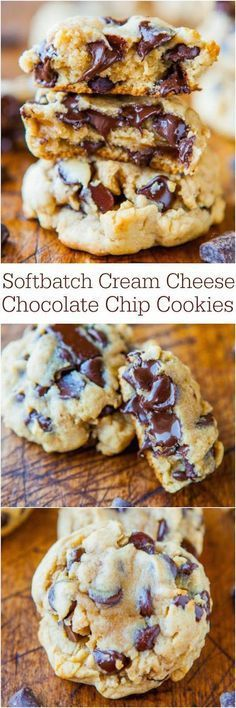 Softbatch Cream Cheese Chocolate Chip Cookies - Move over butter, cream cheese makes these cookies thick and super soft! Softbatch Cream Cheese Chocolate Chip Cookies - Move over butter, cream cheese makes these cookies thick and super soft! Köstliche Desserts, Delicious Desserts, Dessert Recipes, Yummy Food, Dessert Ideas, Healthy Desserts, Beste Desserts, Dessert Blog, Layered Desserts