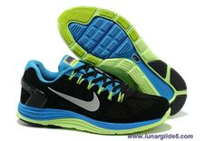Cheap Mens Nike LunarGlide 5 Suede Black Blue Fluorescence Green Silver Shoes
