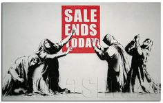 Sale Ends Today Banksy Graffiti Spray Painting Stenciling Technique Dark Humour Canvas Print Giclée