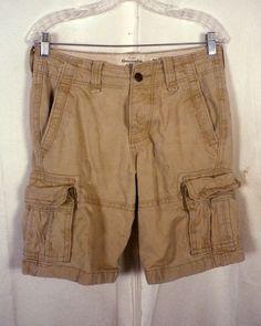 euc Abercrombie & Fitch Button Fly Tie off khaki Cargo Shorts SZ 26 XS W 30 #AbercrombieFitch #Cargo