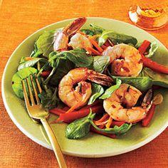 The white balsamic won't discolor the shrimp or bright veggies. For something a little sharper, substitute white wine vinegar.