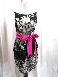 Eliza J Tulip Hem Black Multi Color Floral Dress Size 8 Pink Sash Excellent #ElizaJ #Shift