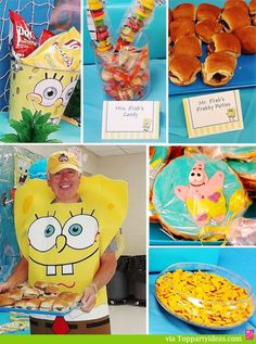 Sponge Bob Party Food Table - mini burgers, fish crackers, chips, sponge bob candy, sponge bob themed character cookies