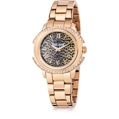 Just Cavalli Designer Women's Watches Just Decor Rose Gold Tone... ($375) ❤ liked on Polyvore featuring jewelry, watches, gold, women's watches, leopard print jewelry, leopard jewelry, stainless steel watches, roman numeral watches and water resistant watches