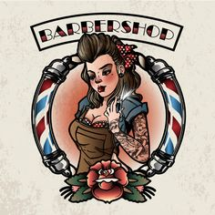 Vintage pin up girl barbershop premium vector Pin Up Girl Vintage, Retro Pin Up, Vintage Pins, Logo Vintage, Pin Up Girl Tattoo, Pin Up Tattoos, Girl Tattoos, Tattoos Skull, Barber Tattoo