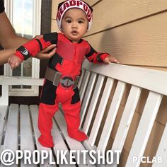 Halloween Baby Deadpool for my son. Homemade costume! DIY Baby Deadpool. Made by a red onesie, craft foam and black fabric.