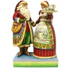 Artist Jim Shore's Santa and Mrs. Claus done in Norwegian rosemaling. Our dear friends gave this to us at Christmas. Jim Shore Christmas, Father Christmas, Christmas Couple, Natural Christmas, Santa Figurines, Christmas Figurines, Collectible Figurines, Norwegian Christmas, Scandinavian Christmas