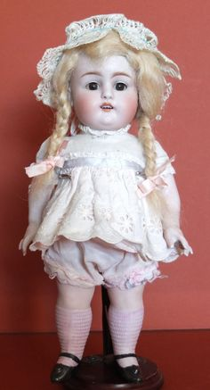 "Antique LARGE 11"" Kestner Doll 150 6 bisque 1890's Original WIG, PINK socks RARE"