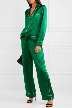 Olivia von Halle | Coco silk-satin pajama set | NET-A-PORTER.COM