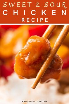 This Easy Sweet and sour chicken recipe is made with fresh pineapples, bell peppers, red onions and juicy crispy chicken. #chicken #chickenrecipe #sweetsourchicken @whiskitrealgud   whiskitrealgud.com Sweet Sour Chicken, Easy Baked Chicken, Crispy Chicken, Chicken Recipes, Honey Chicken, Recipe Chicken, Turkey Recipes, Nutella Brownies, Easy Cooking