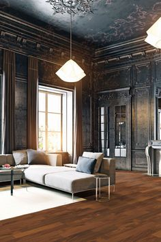 Picture of modern style black living room apartment. Decor Interior Design, Interior Decorating, Luxury Chandelier, Living Spaces, Living Room, Kitchen Living, Classic Interior, Home Hacks, Interiores Design