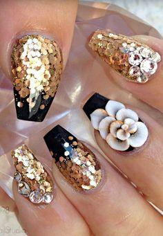 Gold nails design nailart                                                                                                                                                                                 More