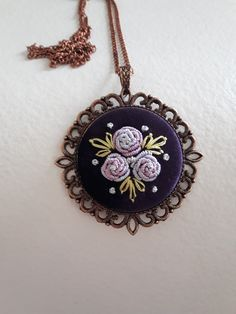 Bullion Embroidery, Ribbon Embroidery, Embroidery Patterns, Mini, Beaded Jewelry, Cross Stitch, Pendant Necklace, Beads, Bracelets