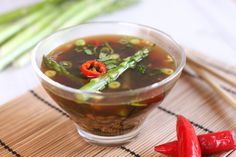 Kale and asparagus Asian broth with spelt - a really easy and really flavourful Asian-style soup.
