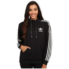 adidas Originals 3-Stripes Hoodie Women's Sweatshirt ($65) ❤ liked on Polyvore featuring tops, hoodies, striped pullover hoodie, long hooded sweatshirt, long sweatshirt, striped hoodie and cotton hooded sweatshirt