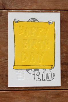 オリジナル活版印刷 木下綾乃「バースデーカード(yellow)」
