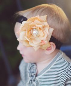 The Autumn Beverly-Vintage, Raw Silk, French Tulle, Lace, Baby Headband, Christening Headband, Baptism Headband, Flower Headband, Flower Clip, Chiffon Fabric Flower