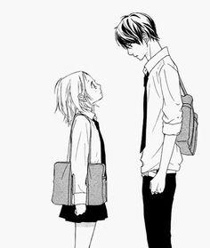 😍 Cute Relationship Goals, Cute Relationships, Short Girlfriend, Manga Anime, Anime Art, Sad Drawings, Manga Couple, Manga Pages, Cute Anime Couples