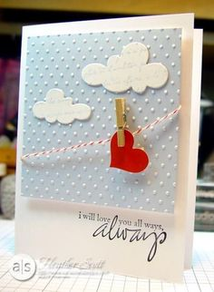 @Laura Jobson Look at this cute card!! You can so make this. :)   Weddbook ♥ heart hanging from a rope, 3D scrapbook wedding invitations