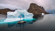 nature, Landscape, Winter, Snow, Iceberg, Sailing ship, Mountains, Sea, Reflection, Clouds, Iceland, Calm Wallpaper